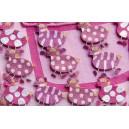 Set of 15 children zebra pink boxes.