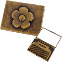 Gold Flower Mirror with Comb