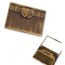 Gold Heart Mirror with a Comb