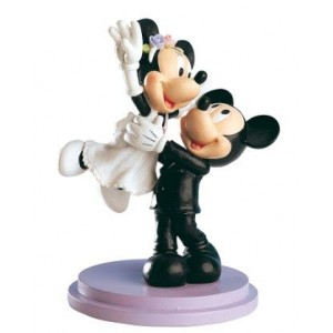 Bride and groom Mickey and Minnie figure  top cake