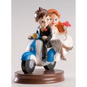 Bride and groom  in a Scooter Cake Figure