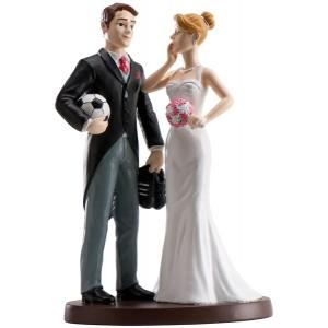 "Wedding Cake Figure Bride and Groom ""Football"""