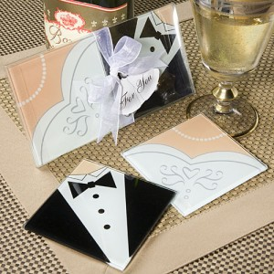Bride and Groom Coaster Set Wedding Gift